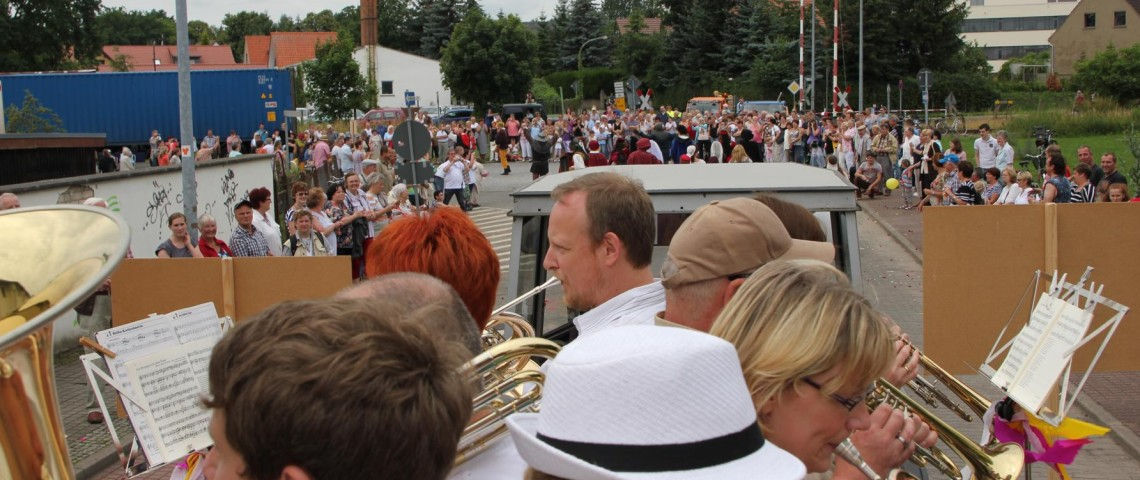 Während des Festumzugs zur 775-Jahrfeier der Stadt Kyritz