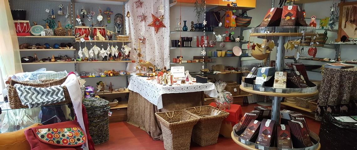 Innenansicht des Weltladens in Kyritz